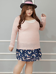 Women's Casual/Daily / Plus Size Simple Winter Set Skirt Suits,Solid Round Neck Long Sleeve Pink Cotton
