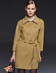 Damen Solide Einfach Lässig/Alltäglich Mantel,Winter Hemdkragen Langarm Blau / Rosa / Beige / Braun / Grün Wolle / Polyester