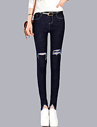 Women's Solid Blue Jeans Pants,Street chic / Thigh Slimmers All Seasons