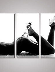 3 Panels Black and White Nude Woman Canvas Print Art for  Modern Wall Decoration  Unframed