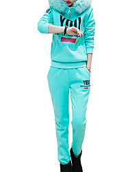 Women's Sports Active Fall Set Pant Suits,Letter Hooded Long Sleeve Green Cotton