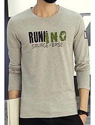 Tee-shirt Hommes,Couleur Pleine Sortie simple Manches Longues Col Arrondi Bleu / Blanc / Gris Coton