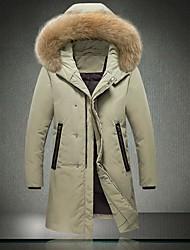 Пальто Винтаж Длинная Пуховик Мужчины,Однотонный На каждый день Хлопок Пух белого гуся,Длинный рукав V-образный вырез Черный / Серый