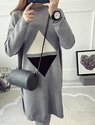 Damen Lang Pullover-Ausgehen Lässig/Alltäglich Einfach Solide Beige Schwarz Grau Rundhalsausschnitt Langarm Wolle Herbst Winter Mittel