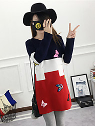 Damen Lang Pullover-Arbeit Urlaub Retro Street Schick Anspruchsvoll Druck Mehrfarbig Rundhalsausschnitt Langarm Baumwolle Frühling Winter