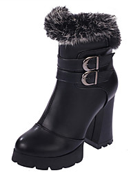 Women's Boots Winter Comfort Fur Casual Chunky Heel Black Burgundy