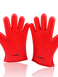 2PCS Heat Resistant Cooking Baking BBQ glove Silicon BBQ Grill Glove barbecue grilling glove(Random color)
