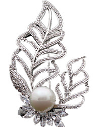 Women's Brooches Luxury Zircon Cubic Zirconia Leaf Jewelry For Daily
