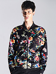 Men's Going out Vintage / Street chic Jackets,Floral Stand Long Sleeve All Seasons Black Polyester Medium