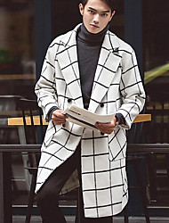 Men's Going out / Party/Cocktail Simple / Street chic Coat,Check Shirt Collar Long Sleeve Winter White Cotton Thick