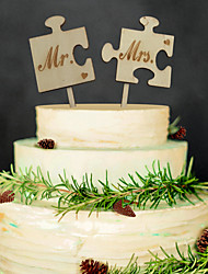 Mr & Mrs Wooden cake inserted exquisite decoration Birthday party wooden cake inserted