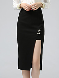 Women's Asymmetrical Plus Size Bodycon OL Style Elegent Solid Split / Beaded SkirtsWork High Rise Midi Elasticity Stretchy Fall