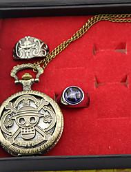 Часы / Больше аксессуаров Вдохновлен One Piece Edward Newgate Аниме Косплэй аксессуары Часы / кольцо Золотистый Сплав