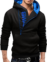 LOGO Sets Of Side-Zipper Hit Color-Colored Sweater Plus Velvet Hooded Sweater Men