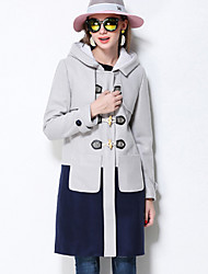 MEIDONGTAI Women's Plus Size / Casual/Daily Simple Coat Color Block Notch Lapel Long Sleeve Winter Polyester Thick