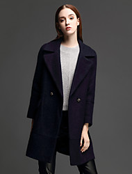 ANGEL Women's Casual/Daily Simple CoatSolid Notch Lapel Long Sleeve Winter Blue Polyester Thick