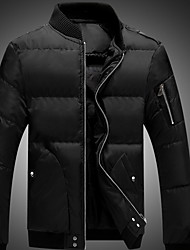 Men's Long Down Coat,Simple Going out Casual/Daily Solid-Polyester Polypropylene Long Sleeve Round Neck