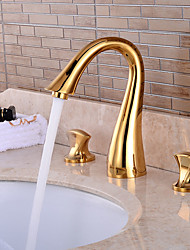 Pieces Widespread Basin Waterfall Faucet Tap Gold Finish