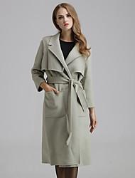 Damen Solide Einfach Ausgehen / Lässig/Alltäglich Mantel,Winter V-Ausschnitt Langarm Grau Mittel Polyester