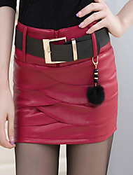 Feminino Saias-Bodycon Cor Única Cintura Média Casual Mini Zíper PU Micro-Elástico Outono