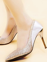 Women's Heels Spring Summer Fall Winter Tulle Wedding Office & Career Casual Party & Evening Stiletto Heel Crystal Split JointGold Black