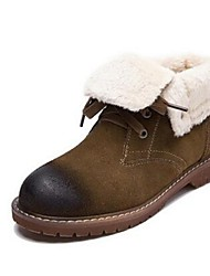 Women's Boots Comfort Suede Casual Black Khaki