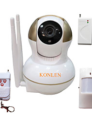 Wifi HD Network Video IP Camera 720P P2P IR PTZ 1.0MP TF Card + Wireless Burglar Alarm PIR Motion Detector Door Sensor