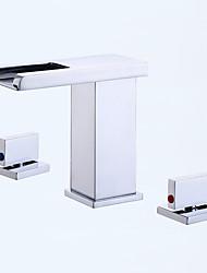 Современный Ар деко / Ретро Modern РазбросаннаяКерамический клапан Две ручки три отверстияВанная раковина кран