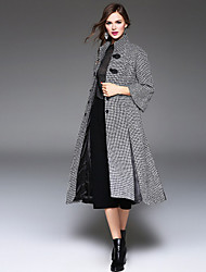 Women's Going out / Beach / Party/Cocktail Simple / Street chic Pea Coats,Houndstooth Stand Long Sleeve Winter Gray Wool Medium