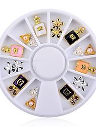 1pcs Charm Perfume Bottle Flowers Triangle Rhinestones Alloy Nail  Tips Decoration Wheel