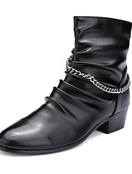 Men's Fashion Boots Comfort High Top Leather Shoes Party & Evening Casual Combat Boots Low Heel Black Walking EU38-42