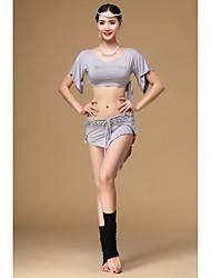 Dança do Ventre Roupa Mulheres Treino Modal Cristal/Strass 2 Peças Manga Curta Caído Saia / Top One Size=28cm