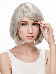 Short Bob Full Side Bang Kinky Straight Synthetic Wigs for Women Grey Costume Cosplay Wigs Heat Resistant Hair