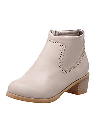 Women's Soft Material Zipper Round Closed Toe Low-Heels Ankle-high Boots