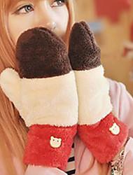 Mulheres Poliéster ponta dos dedos de comprimento de pulso, bloco da cor do inverno ocasional