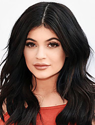 Kylie Jenner Hot Sale Fashion Style Wig Popular Sexy Long Wavy Deep Brown Heat Resistant Synthetic Wigs Fashion Party Hairstyle