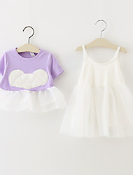Girl's Casual/Daily / Sports Solid Dress,Cotton Fall Short Sleeve