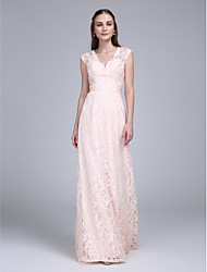 LAN TING BRIDE Floor-length V-neck Bridesmaid Dress - Two Pieces Sleeveless Lace