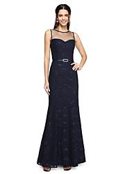 Lanting Bride® Hasta el Tobillo Encaje Vestido de Dama de Honor - Brillos Y Estrellas Funda / Columna Joya con Cinta / Lazo / Lentejuelas