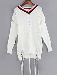 Damen Lang Pullover-Ausgehen Street Schick Einfarbig Weiß V-Ausschnitt Langarm Polyester Herbst Mittel Dehnbar