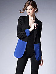 Sign Autumn new European and American Fan hit color stitching Slim long section was thin suit