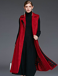 Xuanyan Women's Casual/Daily Simple CoatSolid Shirt Collar Sleeveless Winter Red Wool / Spandex / Others