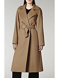 Women's Going out Sexy Coat,Solid Shirt Collar Long Sleeve Fall / Winter Brown Wool Thick