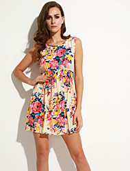 Women's New Fashion Floral Print Sleeveless Chiffon Dress