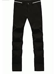 Masculino Reto Chinos Calças-Cor Única Trabalho Simples Cintura Média Zíper / Botão Algodão Micro-Elástico Com Molas / Outono