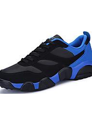 Masculino-Tênis-Conforto-Rasteiro-Azul / Preto e Vermelho / Preto e Branco-Couro Ecológico-Casual