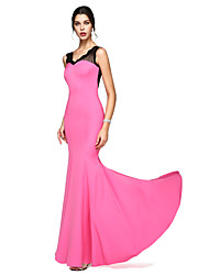 Mermaid / Trumpet V-neck Floor Length Lace Jersey Prom Formal Evening Dress with Lace by TS Couture®