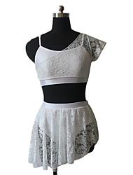 Latin Dance Outfits Women's / Children's Performance Nylon / Lace / Lycra Lace 1 Piece Short Sleeve Top / Skirt