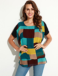Women's Geometric Blue Blouse,Round Neck Short Sleeve