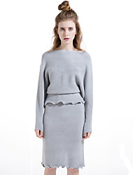 Women's Going out Casual/Daily Simple Fall Winter Skirt Suits,Solid Round Neck Long Sleeve Wool Cotton Polyester